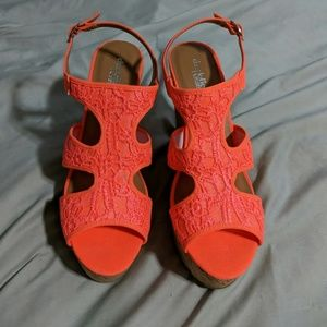 Charlotte Russe Neon Coral Wedges